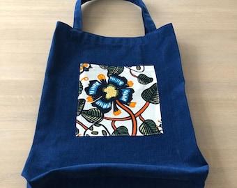 Reusable Cotton Shopping bag, Denim Blue Canvas tote Bag, Floral Marimekko Fabric, Handmade gift, Finnish Design, Scandinavian Design
