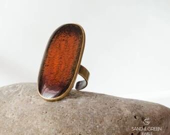 Antique orange large ring, vintage bronze ring, enamel ring, statement ring, everyday adjustable ring, resin ring, gift for her