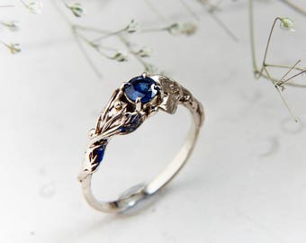 White gold sapphire engagement ring, branch ring, 14K yellow gold, wedding ring, leaves ring, proposal ring, unique engagement, leaf