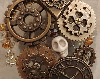 Steampunk Inspired Ornament, Steampunk Ornament With Skull, Gears Ornament, Steampunk Inspired Accent, Stocking Stuffers, Nontraditional