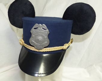 Custom Mickey or Minnie Mouse Ears Conductor Hat, railroad badge