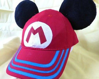 Mario Mouse baseball hat, Mickey Ears baseball hat