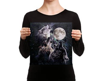 Canvas Howling Wolves