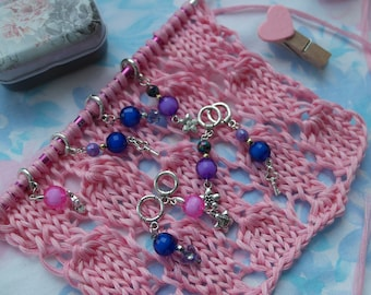 Knit stitch markers Stitch markers set Violet stitch markers Charm stitch markers Knitting markers Stitch markers Gift for knitters