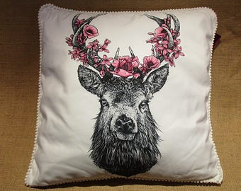 Deer with flowers cushion