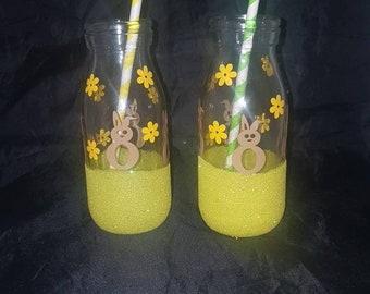 Easter bunnies, glitter glass bottles, Easter gifts, Easter bottles, retro milk bottles, children's Easter gifts, glass bottles