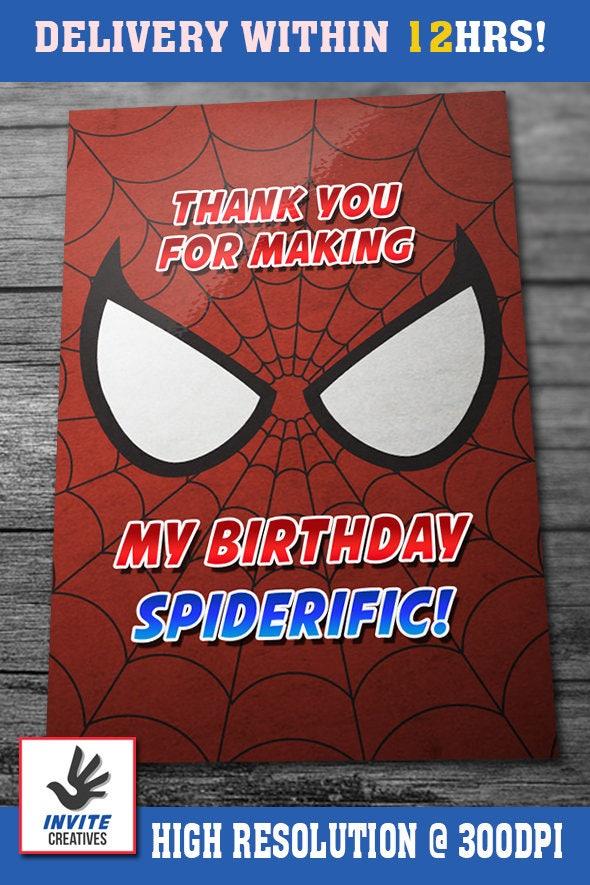 Spiderman birthday invitation with custom face and free thank you spiderman birthday invitation with custom face and free thank you card your boy as the solutioingenieria Gallery