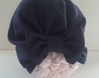 Small Navy blue bow Turban Hat