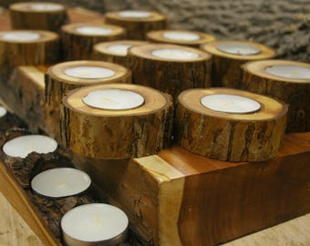 Rustic wooden candlestics whith bark