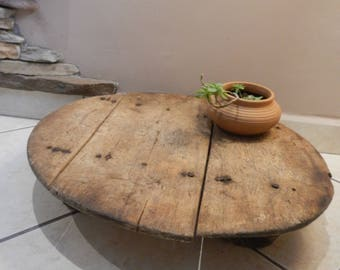 Low Wood Round Dining Table Ottoman Primitive 3 Legs Low Round Coffee Table  Oriental Wood Table