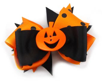 "5"" Orange and Black Stacked Halloween Bow, Pumpkin Boutique Bow, Halloween Bow, Girl's Hair Bow, Polka Dot Ribbon Bow, Halloween Hair Bow"