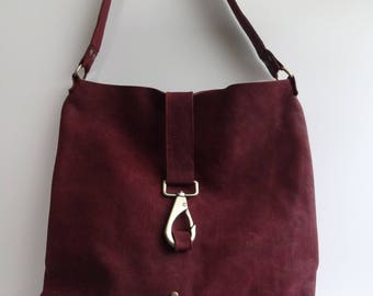 Wine Red leather shoulder bag