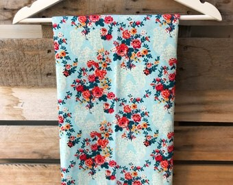 Baby Blue with Multicolor Floral