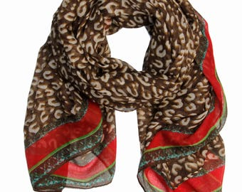 Aria Leopard Print & Gold Chain Link Scarf in Brown/Red