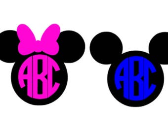 Custom Mickey or Minnie Inspired 2 Color Monogram Decal