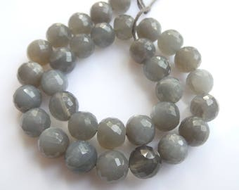 Grey Moonstone,Faceted Bolls, Beads, Size- 8x8 MM, Natural Grey Moonstone Bolls,  Beads, AAA Quality, Bead, Natural Gemstone, 10 INCH