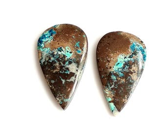 Azurite Pear Pair Cabochon,Size- 29x17, MM, Natural Azurite, AAA,Quality  Loose Gemstone, Smooth Cabochons.