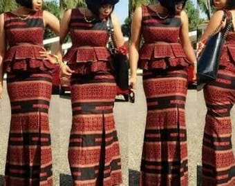 African print kaba and Slit/ African clothing/ African prom dress