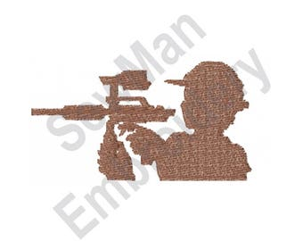 Paintball Silhouette - Machine Embroidery Design, Paintball