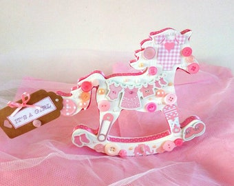 Decorated wooden rocking horse or pram gift for baby shower, new baby or Christening. Boy, girl or neutral.