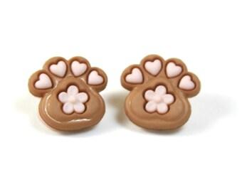 Paw earrings, Cat paw studs, Cute paw earrings, Gift for pet lovers, Pet lovers earrings, Brown earrings, Heart studs