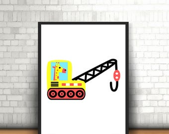 Nursery construction print, Kids Art, Nursery Art Print Nursery Decor Kids Print Giraffe Nursery Print Giraffe wall art, Digital Download