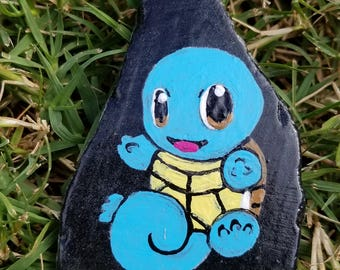 Squirtle Pokemon painted rock