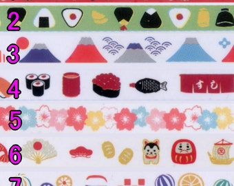 Japanese Daiso Decoration Tape: 5mm Mini Deco Tape, Great for Scrapbook & Diary, For Yuzen flower,OnigiriFuji,Sushi,Sakura,Lucky charm,Candy