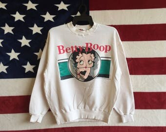 Vintage 90s Betty Boop Cartoon Sweatshirt Betty Boop Sweater Pullover White Colour Betty Boop Jumper Small Size Betty Boop Design Collectio