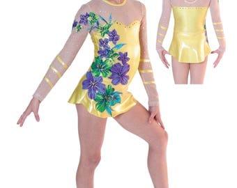 Girl's Dance, Gymnastics Leotard, Figure Ice Skating Dress. Solid colors w/Appliqued Flowers