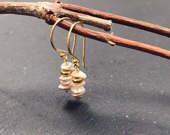 Keshi pearl earrings with gold vermeil findings