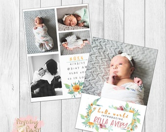 Orange floral birth announcement digital template photography custom girl 5x7