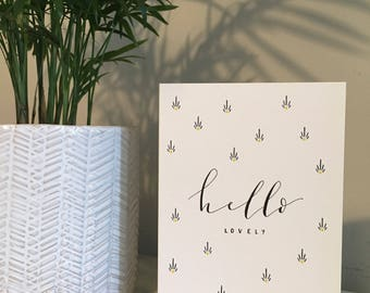 Hello Lovely || Blue Pattern Design || A6 Greeting Card