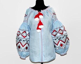 Embroidered Ukrainian Blouse Vyshyvanka Ukraine Embroider Blouses Custom Embroidery Ethnic Shirt Boho Clothing Bohemian Clothes Vishivanka