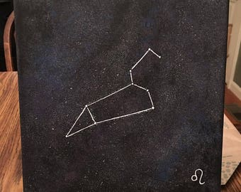 10x10 Leo Constellation Acrylic Painting on Canvas