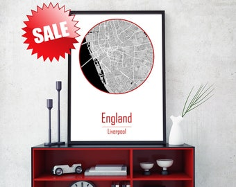 LIVERPOOL City, Liverpool map art, Liverpool Poster, Giclée, England Print, United Kingdom Poster, Liverpool print, UK Canvas Print, UK Map