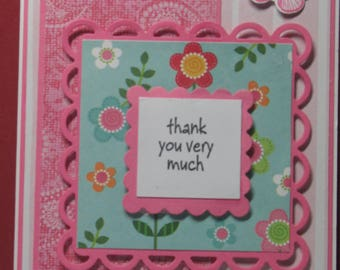 Pink Butterfly Thank You Card