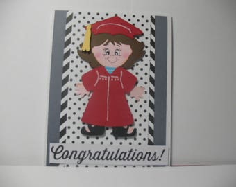 Paper Doll Graduation Card, Cricut Die Cut,