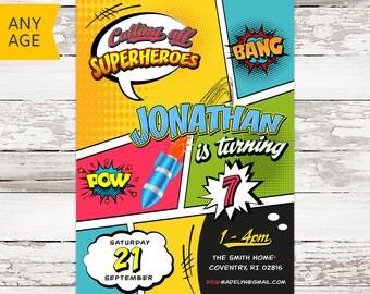 Superhero Birthday Invitation, Comic Birthday Invitation, Superheroes Invitation, Superhero Invitation, Comics Birthday Invite