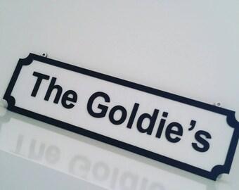 Family name sign - street name design.