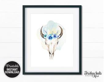 Cow Skull Digital Print, Boho watercolor Nursery wall art girls kids room poster digital print download