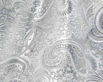 Silver Paisley Chinese Brocade Silk Fabric 53 inch W, By The Yard or Metres  GP-624 for Dressmaking Dress Skirt Table Cloth Covers Material