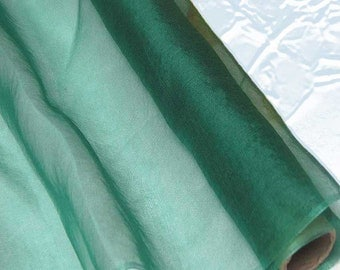 Silk Organza Fabric Bottle Green Pure Natural Silk Material for Wedding Bridal Dress (za23 X Yards /Meter or samples)