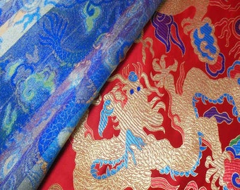 Discount Colorful Big Dragon on Red Chinese Brocade Silk Fabric Motif 28 inch/72cm W, The Yard or Metres CBS-822