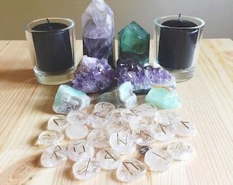 Elder Futhark Clear Quartz Rune Stones