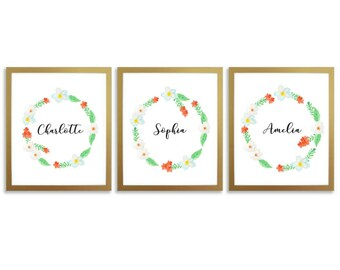 Custom Names, Printable, Three Personalized Names, Children's Names, Nursery Prints, Wall Art, Baby Shower, Calligraphy, Watercolor Floral