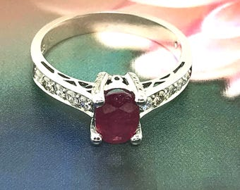 Sparkling Ruby and Diamond Ring set in 10 K White Gold