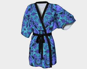 Aqua/Purple Pattern Kimono Robe, Robe, Bath Robe, Lounge Wear, Spa Robe, Coverup, Swim Coverup, Gift for Him/Her, Bridesmaid Robe