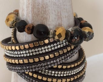 Wrap and beaded bracelet combination