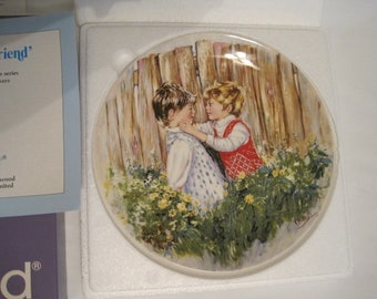 "Vintage English Wedgwood Porcelain ""BE MY FRIEND"" Limited Edition Collector Plate with Papers and Original Box"